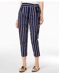 Navy Vertical Striped Tapered Pants
