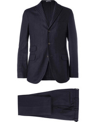 Navy eton slim fit three piece wool suit medium 82573