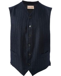 Navy Vertical Striped Waistcoat
