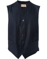 Navy Vertical Striped Waistcoat