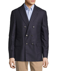 Navy Vertical Striped Wool Blazer