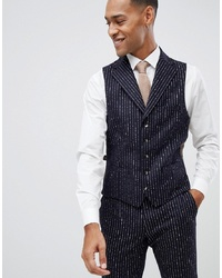 MOSS BROS Moss London Premium Skinny Waistcoat In 100% Wool Boucle Stripe