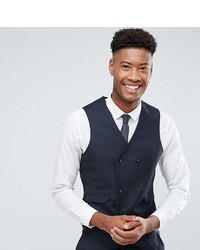 ASOS DESIGN Asos Tall Slim Suit Waistcoat In Navy 100% Wool