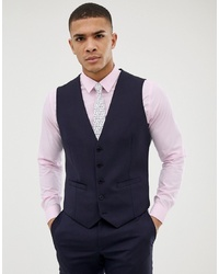 Burton Menswear Skinny Fit Waistcoat In Navy