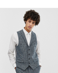 Noak Slim Fit Harris Tweed Waistcoat In Blue