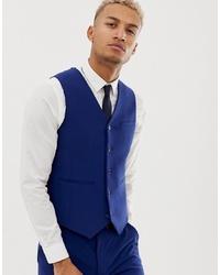 ASOS DESIGN Super Skinny Suit Waistcoat In Bright Blue