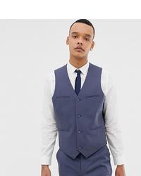 ASOS DESIGN Tall Slim Suit Waistcoat In Slate Blue