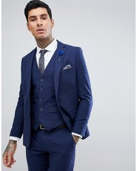 Harry Brown Blue Flannel Slim Fit Wool Blend Suit Jacket