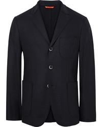 Barena Blue Slaneg Unstructured Wool Blend Blazer