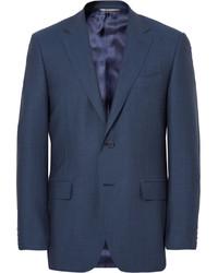 Canali Blue Slim Fit Birdseye Super 120s Wool Suit Jacket