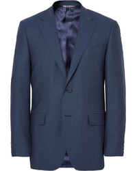 Blue slim fit birdseye super 120s wool suit jacket medium 1149016