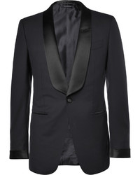 Tom Ford Blue Slim Fit Satin Trimmed Super 110s Wool Tuxedo Jacket