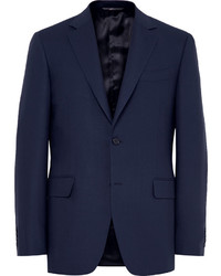 Canali Blue Slim Fit Travel Water Resistant Wool Blazer