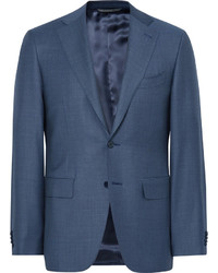 Blue slim fit water resistant birdseye wool suit jacket medium 1194640