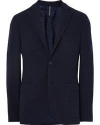 Incotex Blue Slim Fit Wool Terry Blazer
