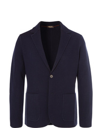 Loro Piana Navy Slim Fit Unstructured Waffle Knit Virgin Wool Blazer