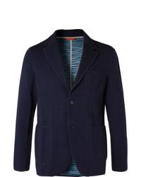 Missoni Navy Slim Fit Wool Blend Blazer