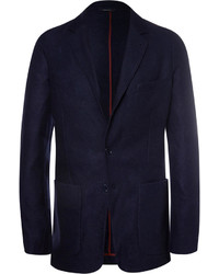 Loro Piana Navy Unstructured Suede Trimmed Silk And Cashmere Blend Blazer