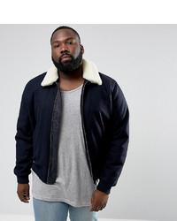 ASOS DESIGN Asos Plus Wool Mix Harrington Jacket With Borg Collar In Navy