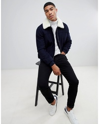 ASOS DESIGN Wool Mix Harrington Jacket With Borg Collar In Navy