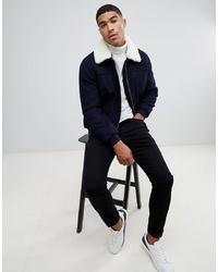 ASOS DESIGN Wool Mix Harrington Jacket With Borg Collar In Navy