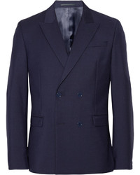 Navy Wool Double Breasted Blazer