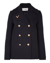 Valentino Embellished Double Breasted Wool Peacoat