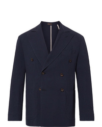 Rubinacci Navy Unstructured Double Breasted Wool Seersucker Blazer
