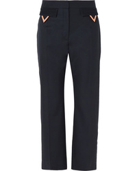 Valentino Cropped Wool Gabardine Straight Leg Pants