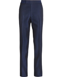 Kingsman Navy Slim Fit Wool And Mohair Blend Tuxedo Trousers