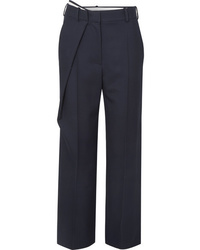 Cédric Charlier Wrap Effect Wool Twill Straight Leg Pants
