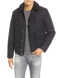 Navy Wool Harrington Jacket