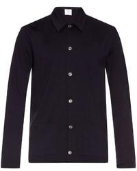 Navy Wool Long Sleeve Shirt