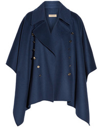 Button detailed wool and cashmere blend poncho navy medium 1032706