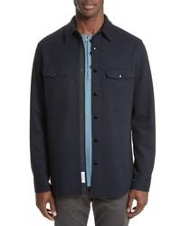 Navy Wool Shirt Jacket