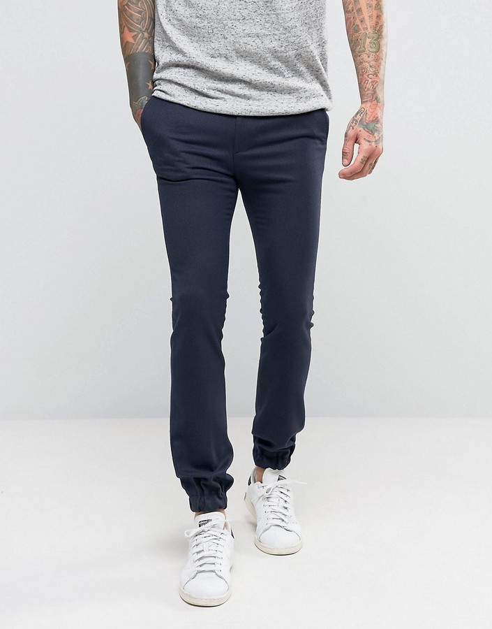 Men's Fashion › Pants › Sweatpants › Navy Wool Sweatpants Asos Extreme  Super Skinny Wool Look Smart Joggers In Navy ...