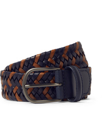 ANDERSON'S 35cm Navy Woven Leather Belt