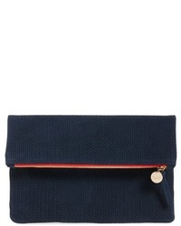 Clare v marine rope woven suede foldover clutch medium 731626