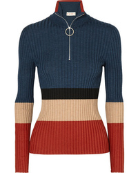 Marni Color Block Ribbed Wool And Silk Blend Sweater