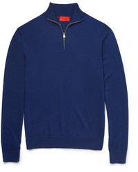 Isaia Merino Wool Half Zip Sweater