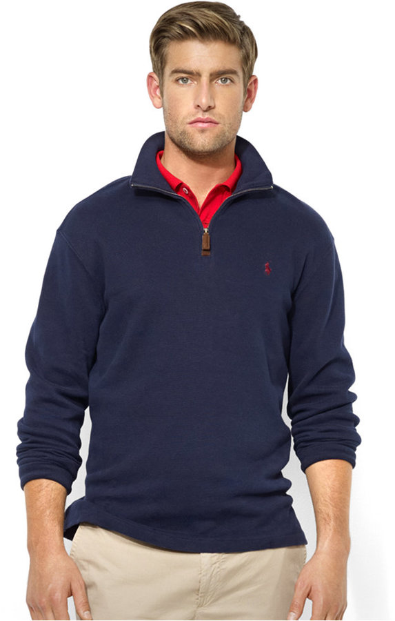 ... Navy Zip Neck Sweaters Polo Ralph Lauren French Rib Half Zip Pullover Sweater ...