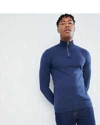 ASOS DESIGN Tall Knitted Half Zip Jumper In Navy