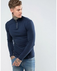 ASOS DESIGN Turtle Neck Jumper With Zip In Navy