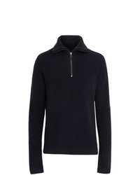 Burberry Zip Neck Cashmere Blend Fleece Sweater