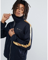 Mennace Track Jacket In Navy With Gold