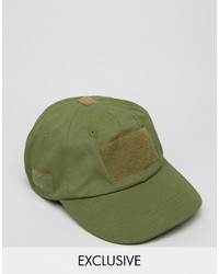 Reclaimed Vintage Baseball Cap With Velcro Green