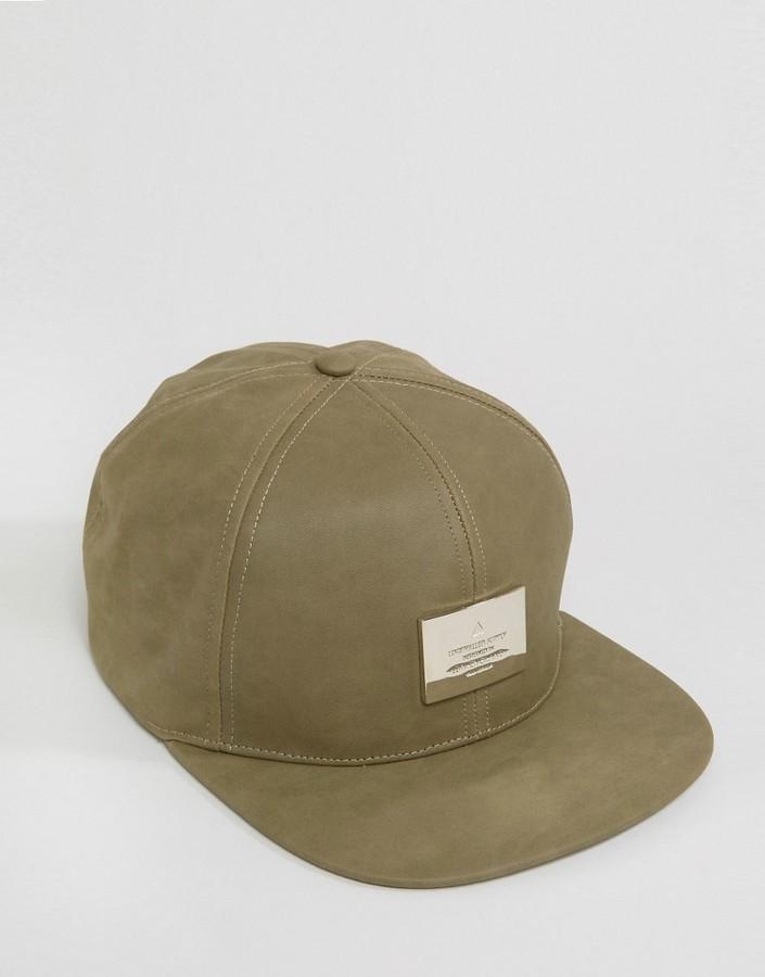 7fe7eb8f70a asos snapback cap in mushroom nubuck with metal badge new lifestyle ...