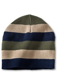 Boys Beanie Hat Tan Green And Navy One Size Fits Most