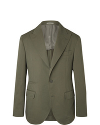 Brunello Cucinelli Army Green Wool And Cotton Blend Twill Suit Jacket