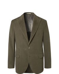 Brunello Cucinelli Dark Sage Unstructured Cotton And Cashmere Blend Suit Jacket